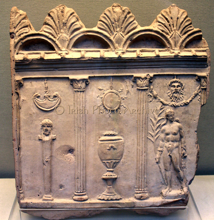 Terracotta panel showing a scene in a palaistra (wrestling school) Roman, Made in Italy, about 1st century AD.