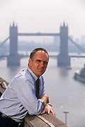 Overlooking the River Thames and Tower Bridge in the distance is German financier and economist, Gebhard Klingenstein in the summer of 1996, London England.