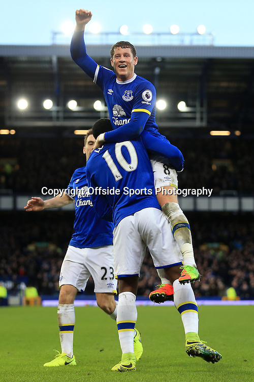 4th February 2017 - Premier League - Everton v Bournemouth - Romelu Lukaku of Everton celebrates with teammate Ross Barkley after scoring their 5th goal - Photo: Simon Stacpoole / Offside.
