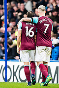 West Ham  (16) Mark Noble (captain), West Ham  (7) Marko Arnautović, celebrates after scoring goal during the Premier League match between Chelsea and West Ham United at Stamford Bridge, London, England on 8 April 2018. Picture by Sebastian Frej.