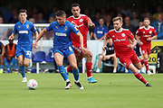 AFC Wimbledon midfielder Anthony Hartigan (8) dribbling during the EFL Sky Bet League 1 match between AFC Wimbledon and Accrington Stanley at the Cherry Red Records Stadium, Kingston, England on 17 August 2019.