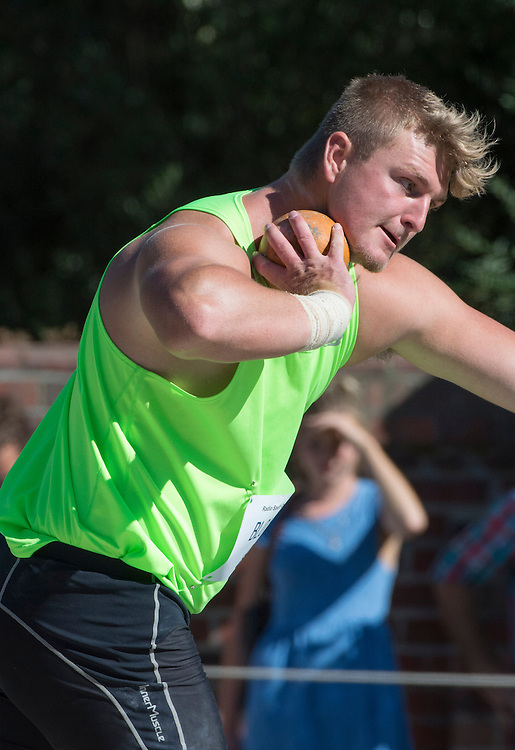 Matt Bloxham, Auckland competing in the Men's open shot put at the International Track Meet, Christ's College,  Christchurch , New Zealand, Saturday, 22 February, 2014.  <br /> Credit:SNPA / David Alexander