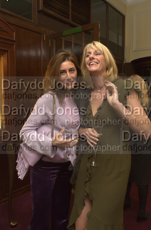 Lulu Hainsworth and Lisa Bentinck. Samantha Shaw charity fashion show. Asprey and Garrard. London. 26 October 2000. © Copyright Photograph by Dafydd Jones 66 Stockwell Park Rd. London SW9 0DA Tel 020 7733 0108 www.dafjones.com