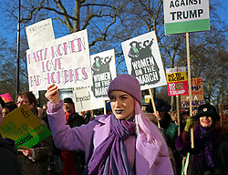 © Licenced to London News Pictures. 21/01/2017. London. UK.  <br /> Women (and men) march through London in protest to the inauguration of newly elected U.S President Donald Trump and his perceived threat to women and human rights, January 21st 2017. The rally is among events in the UK and elsewhere planned in solidarity with a march in US capital Washington DC that is expected to draw 200,000 people marching as part of an international day of action in solidarity.<br /> Photo Credit: Susannah Ireland