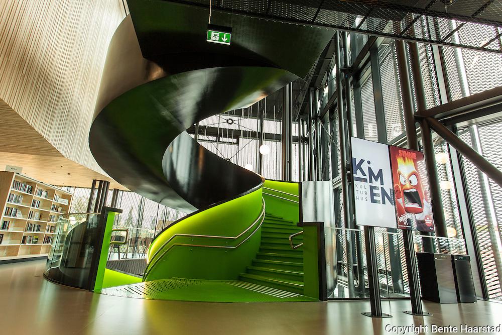 Kimen kulturhus i Stjørdal kostet ca. 720 millioner kroner. Ferdigstilt i august 2015.
