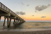 Nov. 8, 2017: Image of the Juno Beach pier during sunset.