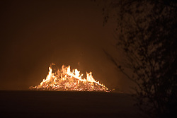 © Licensed to London News Pictures. 06/11/2017. Manchester , UK. Bonfire burning in Heaton Park as police are responding to a child abduction alert following bonfire night fireworks at Heaton Park, north Manchester.  Photo credit: Joel Goodman/LNP