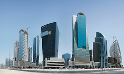 Modern skyscrapers under construction at Business Bay district in Dubai United Arab Emirates