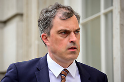 © Licensed to London News Pictures. 23/04/2019. LONDON, UK. Julian Smith MP, Parliamentary Secretary to the Treasury (Chief Whip), arrives at Cabinet Office ahead of cross-party talks on Brexit.  Photo credit: Stephen Chung/LNP