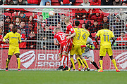 Bristol City striker Aaron Wilbraham (18) scores a goal 1-0 but it is disallowed by referee Graham Scott during the EFL Sky Bet Championship match between Bristol City and Burton Albion at Ashton Gate, Bristol, England on 4 March 2017. Photo by Richard Holmes.