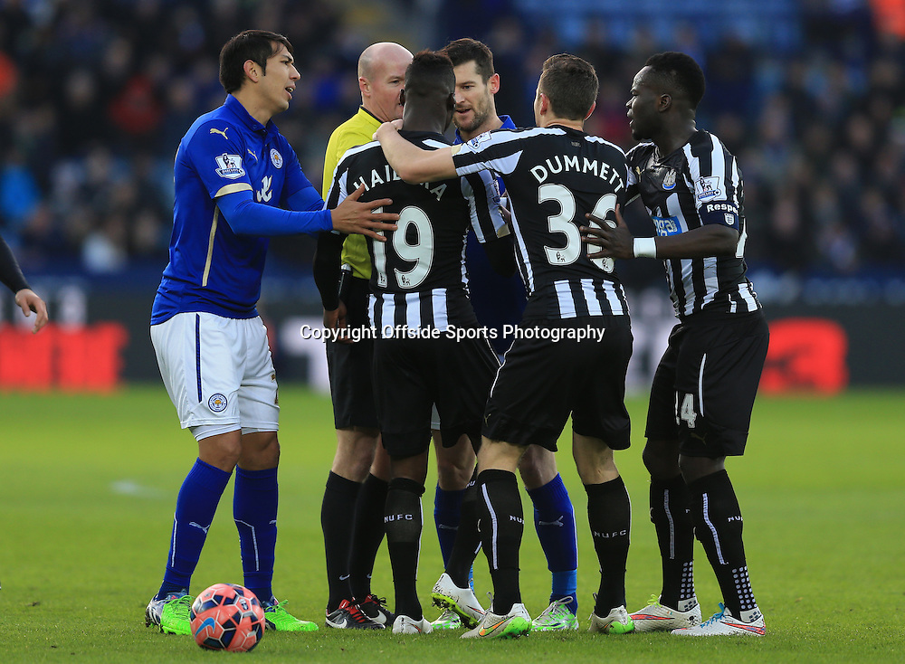 3 January 2015 - The FA Cup 3rd Round - Leicester City v Newcastle United - Massadio Haidara of Newcastle United clashes with David Nugent of Leicester City - Photo: Marc Atkins / Offside.