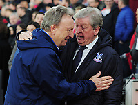 Football - 2018 / 2019 Premier League - Crystal Palace vs Cardiff City.<br /> <br /> Palace Manager Roy Hodgson greets Cardiff Manager Neil Warnock at Selhurst Park<br /> <br /> <br /> Credit: COLORSPORT/ANDREW COWIE