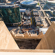 Downtown Kansas City skyscrapers and high-rises, seen from top of Power and Light Building during renovation.