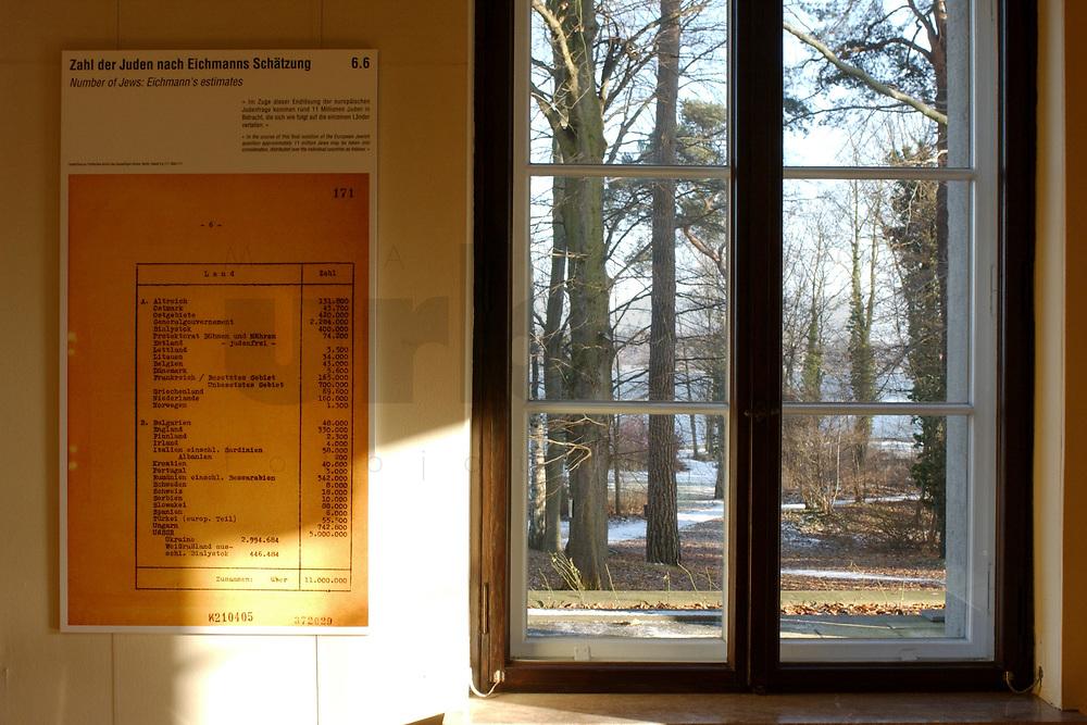 15 JAN 2002, BERLIN/GERMANY:<br /> Reproduktion eines Originaldokuments Zahl der Juden nach Schaetzung Eichmanns und ein Fenster mit Blick auf den Wannnsee, Gedenk- und Bildungsstaette Haus der Wannsee-Konferenz, Am Grossen Wannsee 56-58, 14109 Berlin<br /> IMAGE: 20020115-01-019<br /> KEYWORDS: