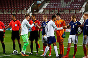 Teams shake hands ahead of kickoff at the U21 UEFA EUROPEAN CHAMPIONSHIPS match Scotland vs England at Tynecastle Stadium, Edinburgh, Scotland, Tuesday 16 October 2018.