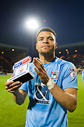 Man of the match Coventry City's Maxime Biamou (9) during the EFL Sky Bet League 2 match between Notts County and Coventry City at Meadow Lane, Nottingham, England on 18 May 2018. Picture by Jon Hobley.