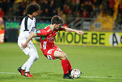 November 25, 2017 - Oostende, BELGIUM - Eupen's Akram Afif and Oostende's Aleksandar Bjelica fight for the ball during the Jupiler Pro League match between KV Oostende and KAS Eupen, in Oostende, Saturday 25 November 2017, on day 16 of the Jupiler Pro League, the Belgian soccer championship season 2017-2018. BELGA PHOTO KURT DESPLENTER (Credit Image: © Kurt Desplenter/Belga via ZUMA Press)
