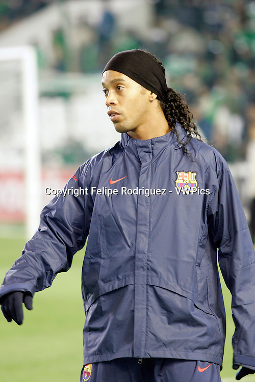 Ronaldinho warming up. Taken at Ruiz de Lopera stadium (Seville, Spain), during the Spanish Liga game between Real Betis and FC Barcelona which took place on 24 January 2007. The final score was 1-1