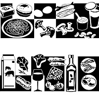 Graphic illustration of meat, fruit and vegetables