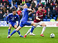 Football - 2018 / 2019 Premier League - Cardiff City vs. West Ham United<br /> <br /> Samir Nasri of West Ham Utd challenged by Aron Gunnarsson of Cardiff City, at Cardiff City Stadium.<br /> <br /> COLORSPORT/WINSTON BYNORTH