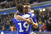 Birmingham City striker Che Adams (9) scores a goal and celebrates  with Birmingham City midfielder Jacques Maghoma (19) 3-0 during the EFL Sky Bet Championship match between Birmingham City and Preston North End at St Andrews, Birmingham, England on 1 December 2018.