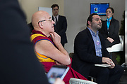"""Participants listen during the Session """"A New Narrative of Progress"""" at the Annual Meeting 2018 of the World Economic Forum in Davos, January 26, 2018.<br /> Copyright by World Economic Forum / Greg Beadle"""
