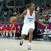 07 August 2012: France Sandrine Gruda dribbles during 71-68 Team France victory over Team Czech Republic, during the women's basketball quarter-finals, at the Basketball Arena, in London, Great Britain.
