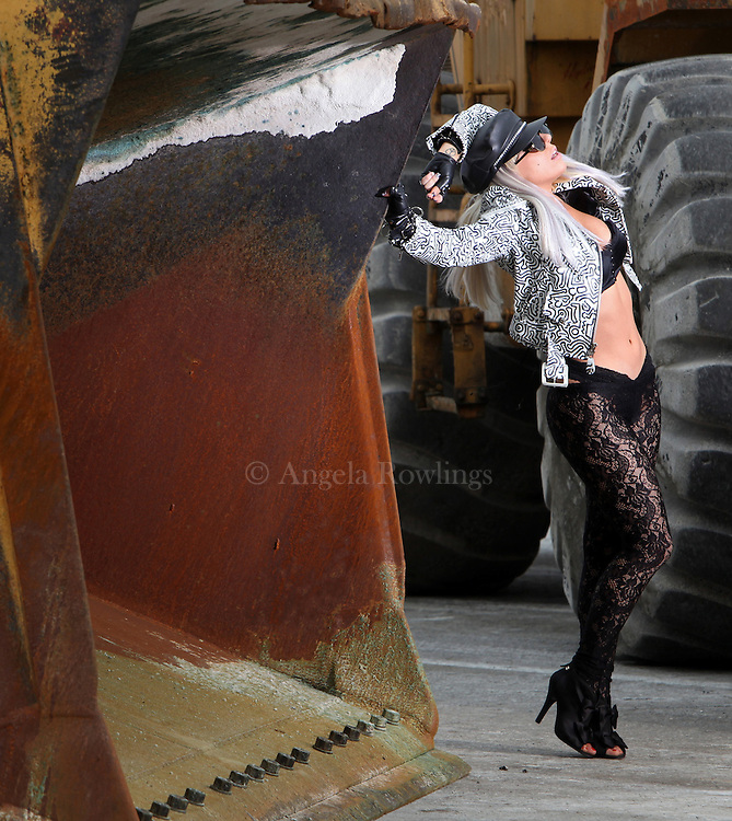 Lady Gaga appears on the set of a video at the Eastern Salt Company in Chelsea, Monday, May 4, 2009.