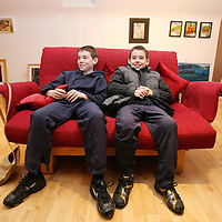 Fionn and Ross O'Carroll-Quinlan chilling out at the Art Exhibition Opening at the Exercise Studio Francis Street on Saturday evening.<br /><br />Photograph by Eamon Ward