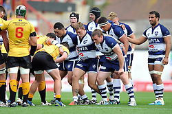 The Bristol Rugby forwards pack down for a scrum - Photo mandatory by-line: Patrick Khachfe/JMP - Mobile: 07966 386802 21/09/2014 - SPORT - RUGBY UNION - Bristol - Ashton Gate - Bristol Rugby v Cornish Pirates - GK IPA Championship.