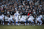 Oakland Raiders fans taunt Indianapolis Colts quarterback Andrew Luck (12) at Oakland Coliseum in Oakland, Calif., on December 24, 2016. (Stan Olszewski/Special to S.F. Examiner)