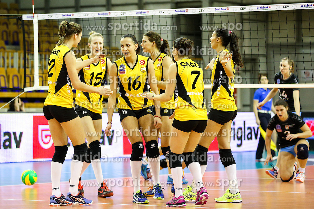 Players of VakifBank Istanbul during the volleyball match between Calcit Ljubljana and VakifBank Istanbul at 2016 CEV Volleyball Champions League, Women, League Round in Pool B, 1st Leg, on November 26, 2016, in Hala Tivoli, Ljubljana, Slovenia.  (Photo by Matic Klansek Velej / Sportida)