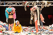 07/04/2014. The critically acclaimed contemporary ensemble les ballets C de la B returns to Sadler's Wells with the UK premiere of Alain Platel's latest creation tauberbach on Tuesday 8 & Wednesday 9 April 2014. Picture shows (centre) Elsie de Brauw.