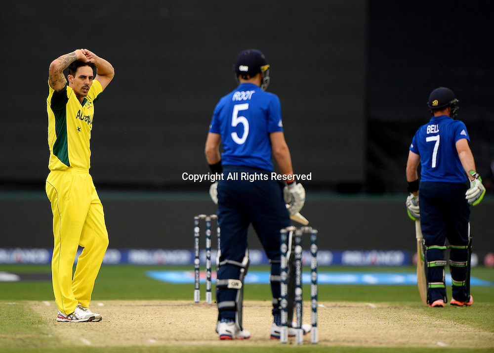 Mitchell Johnson (AUS)<br /> Australia vs England / Match 2<br /> 2015 ICC Cricket World Cup / Pool A<br /> MCG / Melbourne Cricket Ground <br /> Melbourne Victoria Australia<br /> Saturday 14 February 2015<br /> &copy; Sport the library / Jeff Crow