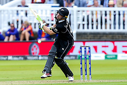 Tom Latham of New Zealand gets hit by Mark Wood of England - Mandatory by-line: Robbie Stephenson/JMP - 14/07/2019 - CRICKET - Lords - London, England - England v New Zealand - ICC Cricket World Cup 2019 - Final