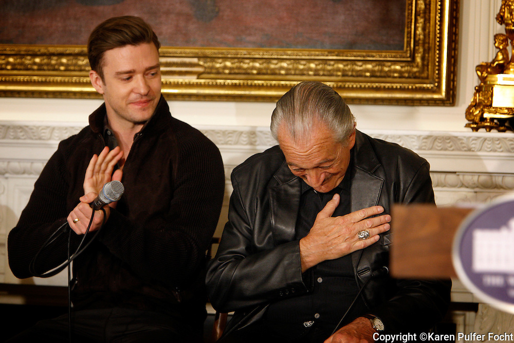 "April 9, 2013 - Justin Timberlake applauds as harmonica great Charlie Musselwhite takes a humble bow when he was introduced at a Memphis music workshop in the State Dining Room at the White House on Tuesday. The workshop event: ""Soulsville, USA: The History of Memphis Soul""  was attended by students from all over the country, including two from Stax Academy in Memphis.  It was hosted by Michelle Obama."