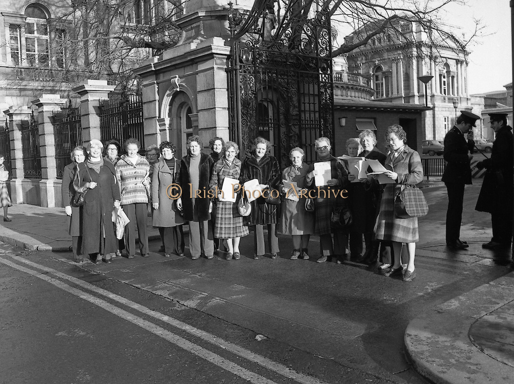 12/12/1978.12/12/1978.12th December 1978.National Association of Widows Protest outside Dail Eireann. Photograph shows the group of protestors at the Dail, Kildare Street.