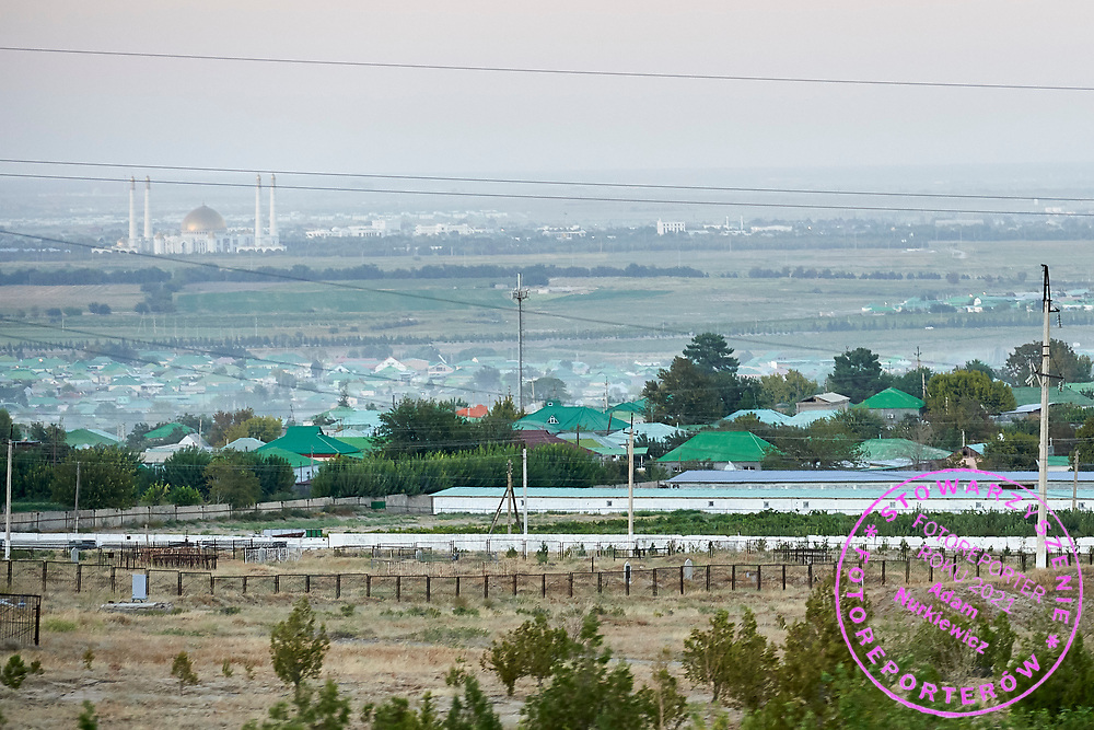 Ashgabat, Turkmenistan - 2017 September 22: Bagyr City (Bagyr is located some 14 km on West of Ashkhabad, the country's capital city) with Gypjak Mosque in background while 2017 Ashgabat 5th Asian Indoor & Martial Arts Games on September 22, 2017 in Ashgabat, Turkmenistan.<br /> <br /> Mandatory credit:<br /> Photo by © Adam Nurkiewicz<br /> <br /> Adam Nurkiewicz declares that he has no rights to the image of people at the photographs of his authorship.<br /> <br /> Picture also available in RAW (NEF) or TIFF format on special request.<br /> <br /> Any editorial, commercial or promotional use requires written permission from the author of image.