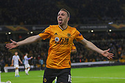 Diogo Jota of Wolverhampton Wanderers scores and celebrates the first goal of the game during the Europa League match between Wolverhampton Wanderers and Besiktas at Molineux, Wolverhampton, England on 12 December 2019.