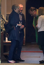 © Licensed to London News Pictures. 03/09/2017.  Prime Minister Theresa May and her husband Philip talk to the vicar after attending church in her constituency. Photo credit: J Almasi/LNP