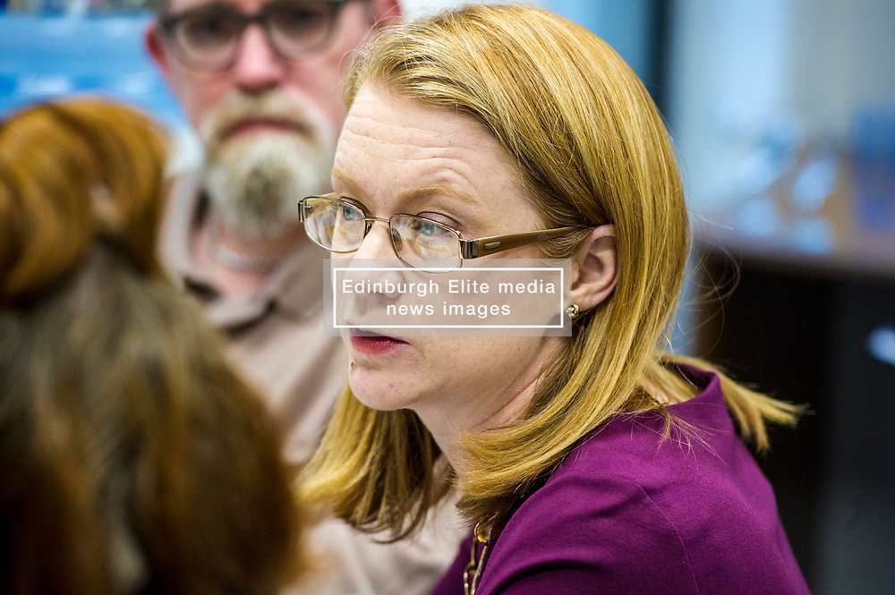 Pictured: Shirley-Anne Somerville<br /> Today Social Security Secretary Shirley-Anne Somerville visted Prospect Community Housing Association in Wester Hailes, Edurgh, and heard from staff and their clients who are  affected by Universal Credit. <br /> <br /> Ger Harley   EEm 31 October 2018