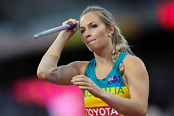 London, August 08 2017 . Kelsey-Lee Roberts, Australia, in the women's javelin final on day five of the IAAF London 2017 world Championships at the London Stadium. © Paul Davey.