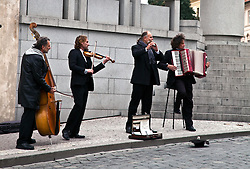 Prague, Czech Republic:  The Castle Orchestra often gives inpromptu performances at the entrance to Castle Square
