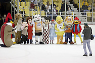 The mascots gather for a group photo after a dodgeball game during an intermission as the Dayton Gems take on the Flint Generals at Hara Arena, Sunday, November 22, 2009. (from left) Weeny from Dreamy Weenie, Curby the Recycling Cardinal, the Trotwood High School Ram, Max and Erma from Max & Erma's, Blade the Tiger, Frisch's Big Boy, Wendy from Wendy's, Waddles the Red Cross Duck, Homer from Home Depot and Red the Robin from Red Robin