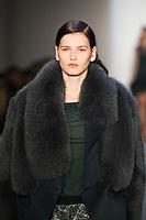 Katlin Aas walks down runway in F2012 Peter Som's collection, New York, Feb 10, 2012