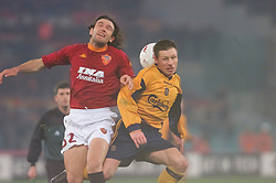 ROME, ITALY - Thursday, February 15, 2001: Liverpool's Nicky Barmby and AS Roma's Candela during the UEFA Cup 4th Round 1st Leg match at the Stadio Olimpico. (Pic by David Rawcliffe/Propaganda)