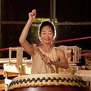 Ten Drum art Drum troupe drummer drums in old Sugar refinery warehouse at the Ten Drum Culture Village in Tainan City, Taiwan