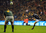 Scotland's Dan Parks slots a late penalty to nail victory to the mast for the home side againts the visiting Springboks..Scotland v South Africa, Murrayfield, Edinburgh, Scotland, Satday 20th November 2010.