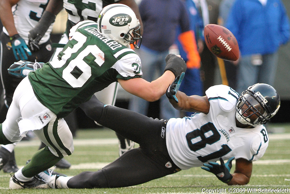 Nov 15, 2009; East Rutherford, NJ, USA; Jacksonville Jaguars wide receiver Torry Holt (81) and New York Jets safety Jim Leonhard (36) battle for a tipped pass during second half NFL action in the Jacksonville Jaguars 24-22 victory over the New York Jets at Giants Stadium.