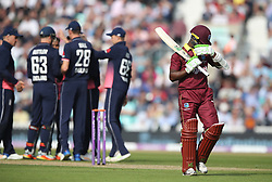 West IndiesÕ Jason Mohammed walks off dejected after getting out for 46 during the Fourth Royal London One Day International at the Kia Oval, London.